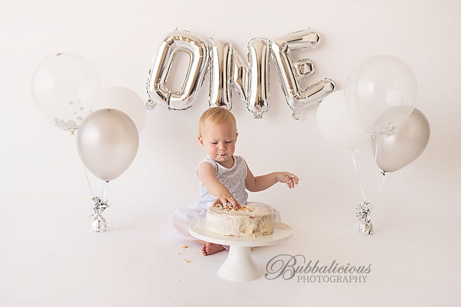 BBirthday cakes are fun to play with when your only one - Sunshine Coast Gympie Baby Photographer