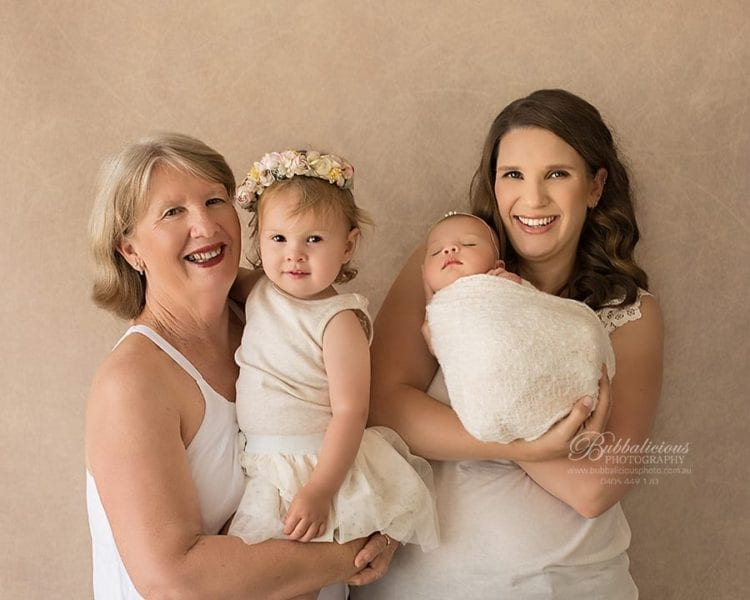 Baby with Older Sister, Mum and Grandmother - Lots of Smiles - Bubbalicious Photography - Premium Newborn Photographer - Sunshine Coast Gympie