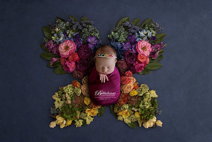 Newborn posed in butterfly wing made with many coloured flowers - Sunshine Coast Gympie Newborn Photography